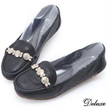 【Deluxe】全真皮優雅迷人水鑽平底包鞋(黑)