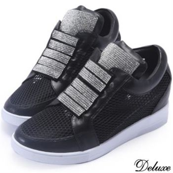 【Deluxe】全真皮性感簍空水鑽內增高休閒鞋(黑)