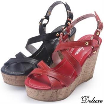 【Deluxe】全真皮優雅交叉綁帶羅馬楔型鞋(黑★紅)