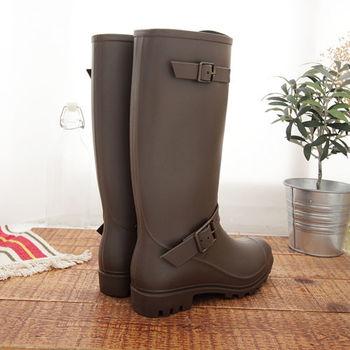 《DOOK》歐美風格率性長筒防水雨靴-咖啡色