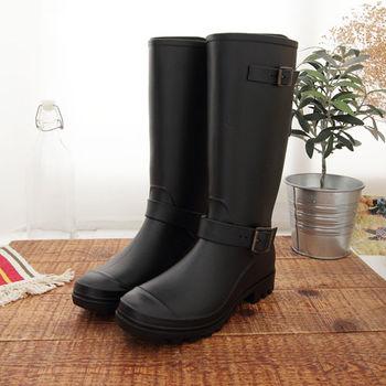 《DOOK》歐美風格率性長筒防水雨靴-黑色