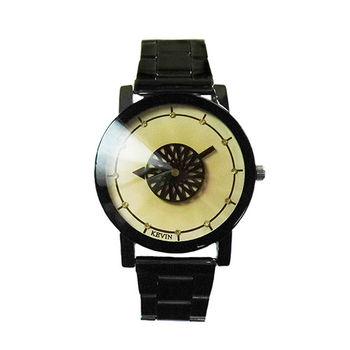 【KEVIN】創意動態綻放秒針趣味腕錶(俏皮黃)