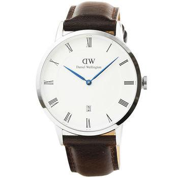 DW Daniel Wellington 簡約時尚腕錶-咖啡色皮帶銀框 38mm / 1123DW