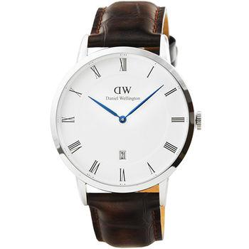DW Daniel Wellington 簡約時尚腕錶-咖啡色紋路皮帶銀框 38mm / 1122DW
