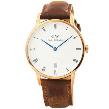 DW Daniel Wellington 簡約時尚腕錶-復古咖啡色皮帶銀框34mm / DW00100114