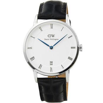 DW Daniel Wellington 簡約時尚腕錶-黑色皮帶銀框34mm / DW00100117