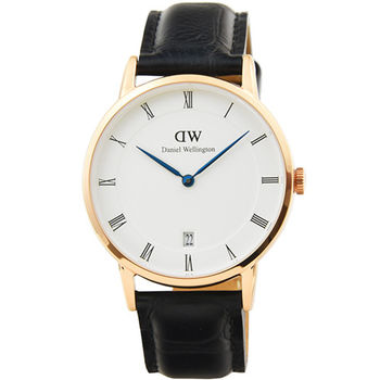 DW Daniel Wellington 簡約時尚腕錶-黑色皮帶金框34mm / DW00100118