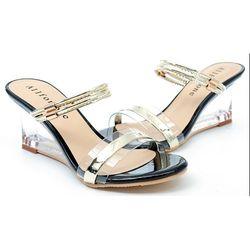 【cher美鞋】鏤空金屬系透明拖鞋(黑色)9501-03
