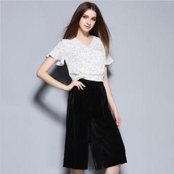 (現貨+預購 RN-girls) -歐美夏季新款圓點V領荷葉邊上衣+純色寬褲套裝