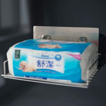 《舒適屋》髮絲紋無痕貼-304不鏽鋼平版衛生紙架