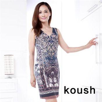 【Kuosh】歐洲宮廷圖騰連身背心洋裝(FA-0116)