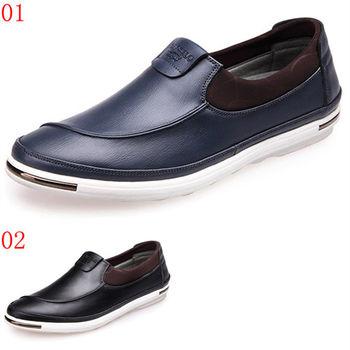(預購)【CARTELO卡帝樂鱷魚】27103AA男鞋新款英倫休閒鞋潮男士真皮鞋子懶人蹬套腳樂福鞋夏(JHS杰恆社)