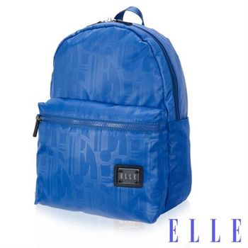 【ELLE】法式優雅休閒輕細尼龍防潑水IPAD/13吋筆電後背包(海藍 EL83829-42)