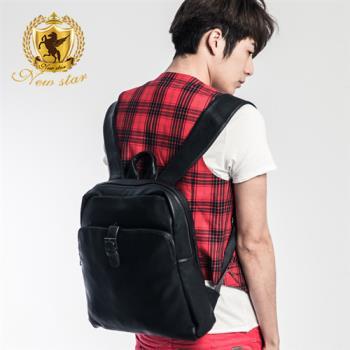 NEW STAR 韓系質感皮紋金屬扣口袋後背包公事包 BK178