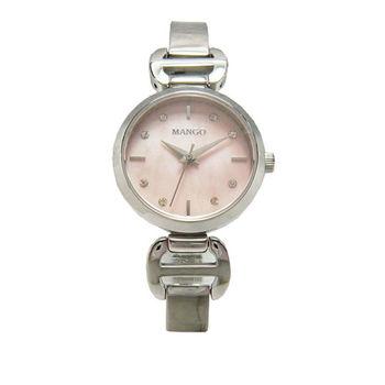 MANGO 心動時分優質時尚女性腕錶-銀色-MA6599L-10