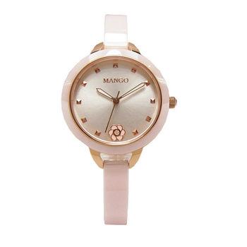 MANGO 綻放的花朵陶瓷時尚優質女性腕錶-淺粉-MA6689L-10