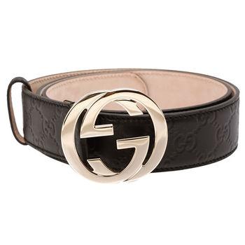 GUCCI 經典Guccissima GG壓紋金釦牛皮腰帶/皮帶(咖啡)