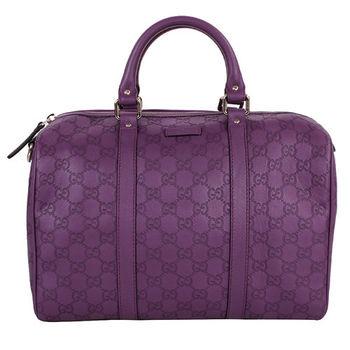 GUCCI  logo壓紋拉鍊手提波士頓包/紫(此款沒附背帶)