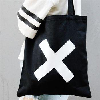 【SEIO】帆布包 禮物 歐美經典 黑色設計環保帆布包 簡約黑色 大叉叉 交換禮物 手拿 肩背包