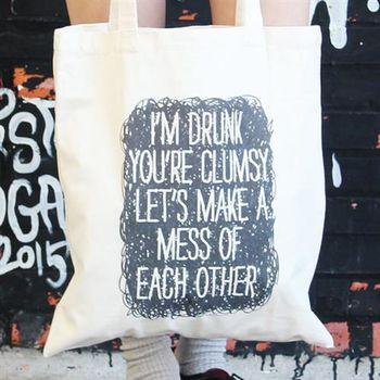 【SEIO】 帆布包 禮物 歐美獨創 自定設計環保帆布包 IM drunk 黑色幽默 聖誕節交換禮物 手拿 肩背包