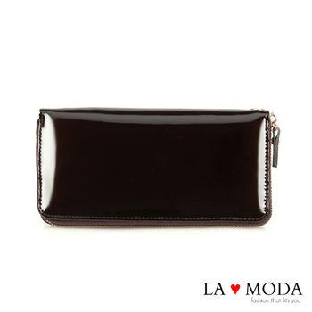 LAMODA真皮 經典品牌同款長夾 漆皮 手拿皮夾(漆皮咖啡)