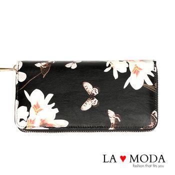 La Moda 質感彩繪壓紋大容量拉鍊手機包長夾 (黑)