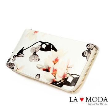 La Moda 質感彩繪壓紋大容量拉鍊手機包長夾 (白)
