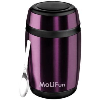 MoliFun魔力坊 不鏽鋼真空保鮮保溫罐/燜燒罐/食物罐550ml-時尚紫