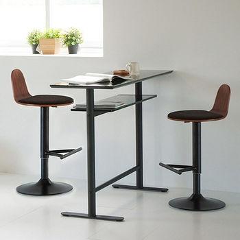 《舒適屋》玻璃雙層吧台桌-120cm+布面圓升降吧台椅x2組(4款可選)