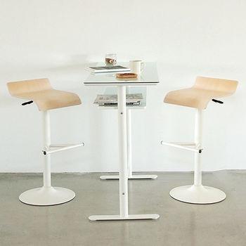 《舒適屋》玻璃雙層吧台桌-120cm+曲線升降吧台椅x2組(4款可選)