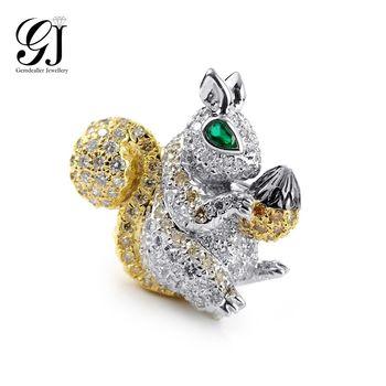 [晉佳珠寶] Gemdealler Jewellery 獨特設計款珠寶 18k金滿鑽松鼠祖母綠胸針