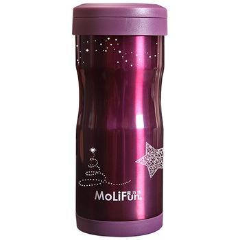 MoliFun魔力坊 不鏽鋼雙層高真空附專利濾網保溫杯瓶350ml-典雅紫限定款