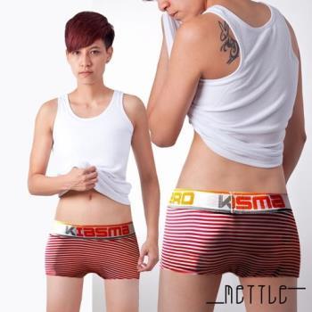 【METTLE】中性低腰條紋平口內褲(紅)
