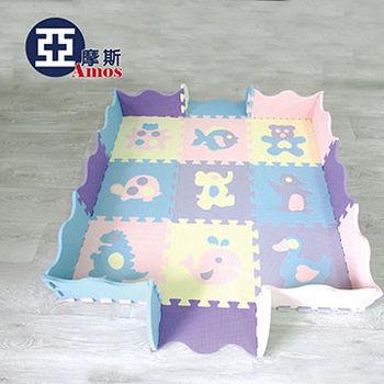 【Amos】立體城堡動物卡通拼裝地墊/爬行地墊