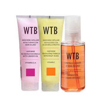 義大利原裝 WTB昂賽芙 經典護髮組  亞麻籽免沖洗護髮100ml+果酸潤護髮膜250g+亞麻籽潤護髮膜250g