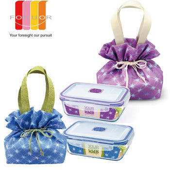 【法國FORUOR】紫藤.星藍耐熱玻璃保鮮盒提袋組800ml