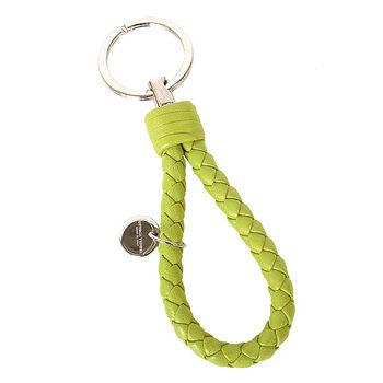 BOTTEGA VENETA  經典羊皮編織鑰匙圈(夜芥黃)