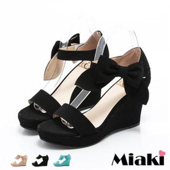 【Miaki】MIT 涼鞋韓劇蝴蝶結典雅坡跟涼拖(粉色 / 蘋果綠 / 黑色)