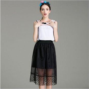 (現貨+預購 RN-girls) -歐美夏季時尚無袖上衣+歐根紗蓬蓬裙套裝