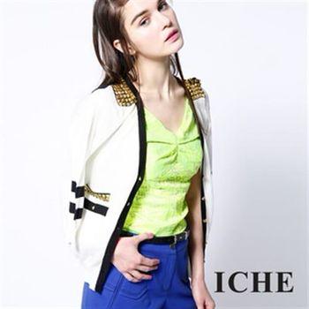 【ICHE 衣哲】鉚釘肩飾針織外套