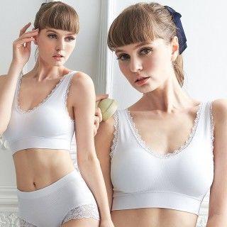【櫻桃寶貝】M-XL蕾絲美型 超輕感運動BRA T-白色