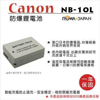 ROWA 樂華 For CANON NB-10L NB10L 電池
