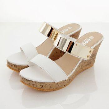 《DOOK》雙帶一字金屬片楔型厚底拖鞋/涼鞋-白色