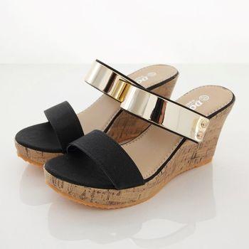 《DOOK》雙帶一字金屬片楔型厚底拖鞋/涼鞋-黑色