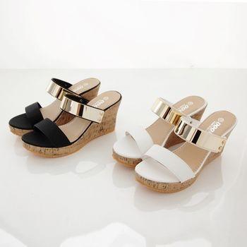 《DOOK》雙帶一字金屬片楔型厚底拖鞋/涼鞋-2色