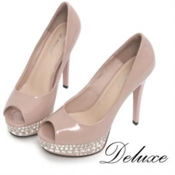 【Deluxe】全真皮水鑽防水台魚口高跟鞋(粉)-360-2