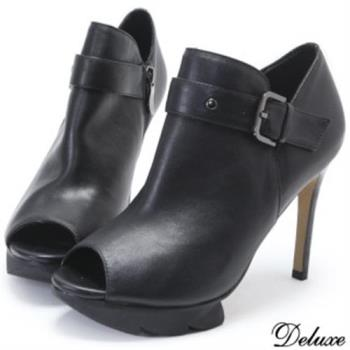 【Deluxe】全真皮露趾魚口拉鍊高跟踝靴(黑)
