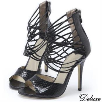 【Deluxe】全真皮完美蛇紋細環帶露趾羅馬高跟鞋(黑)