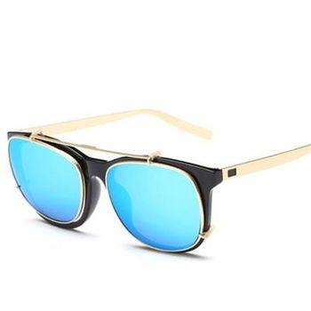 【米蘭精品】太陽眼鏡偏光墨鏡方框翻蓋兩用設計男款5色