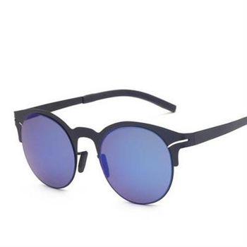 【米蘭精品】太陽眼鏡偏光墨鏡圓形金屬鏤空半框男款5色